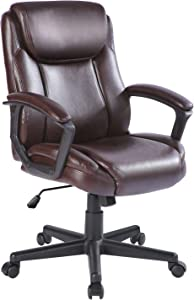 Qulomvs Computer Office Chair Spring Cushion Mid Back Executive Desk Chair with Arms PU Leather 360 Swivel Task Chair with Wheels Lumbar Support (Brown)