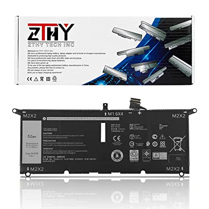 ZTHY New DXGH8 Laptop Battery Replacement for Dell XPS 13 9370 2018 XPS 13  9380 2019 Series Notebook 0H754V 7 6V 52Wh 6500mAh 4-Cell
