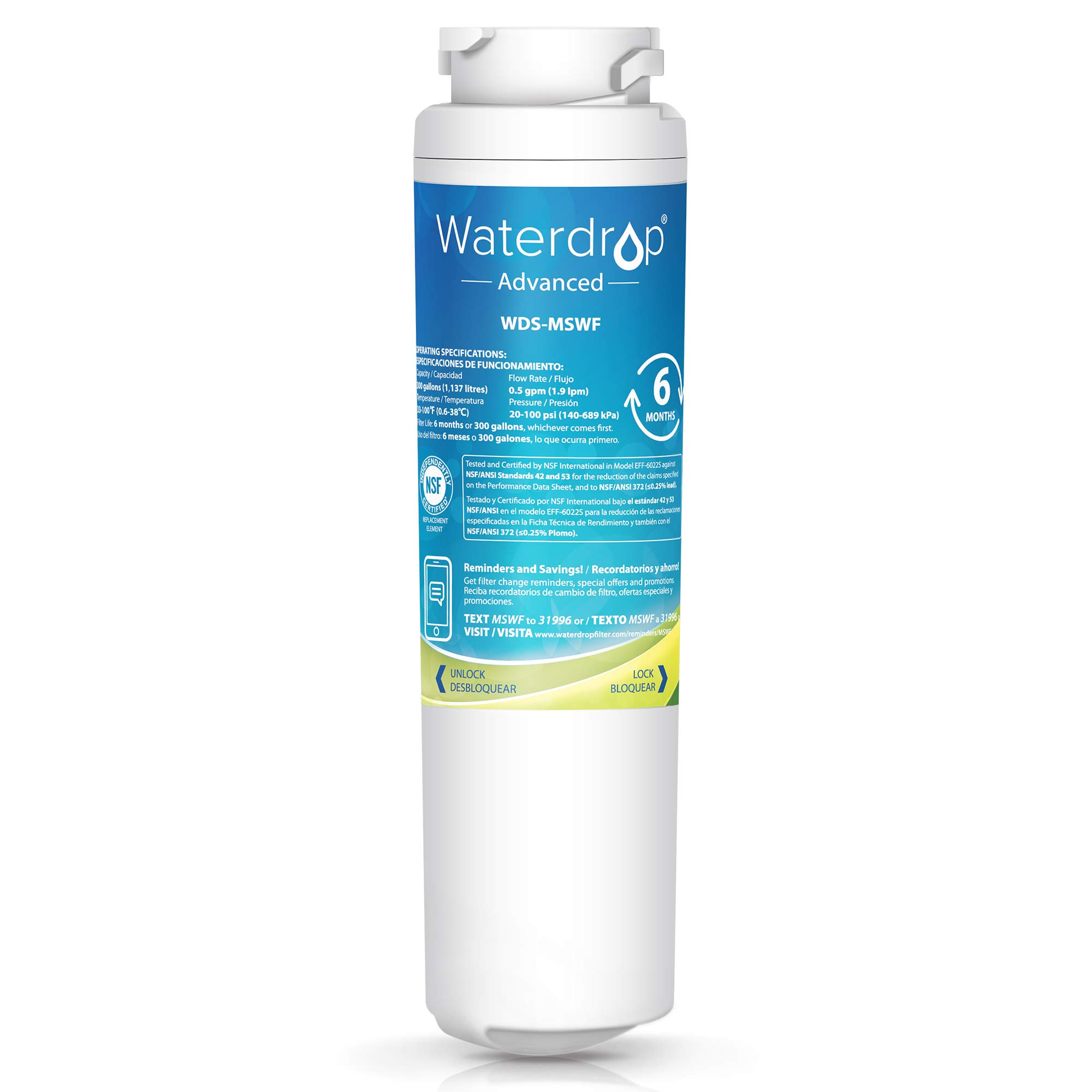 Waterdrop NSF 53&42 Certified MSWF Replacement Refrigerator Water Filter, Compatible with GE MSWF, 101820A, 101821B, 101821-B, Advanced