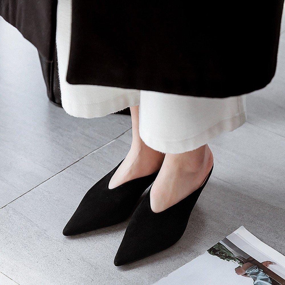 AN Frau Fruuml;hling und Sommer zeigte V Mund mit halb Pantoffeln mit geformten Sandalen weibliche Baotou Schuhe  38|schwarz