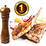 Culinerro – the Best Wooden Salt and Pepper mill, a solid kitchen pepper mill with a strong ceramic grinder – 8-inch wood pepper mill - Easily Refilled and Interchangeable for Long Term Use