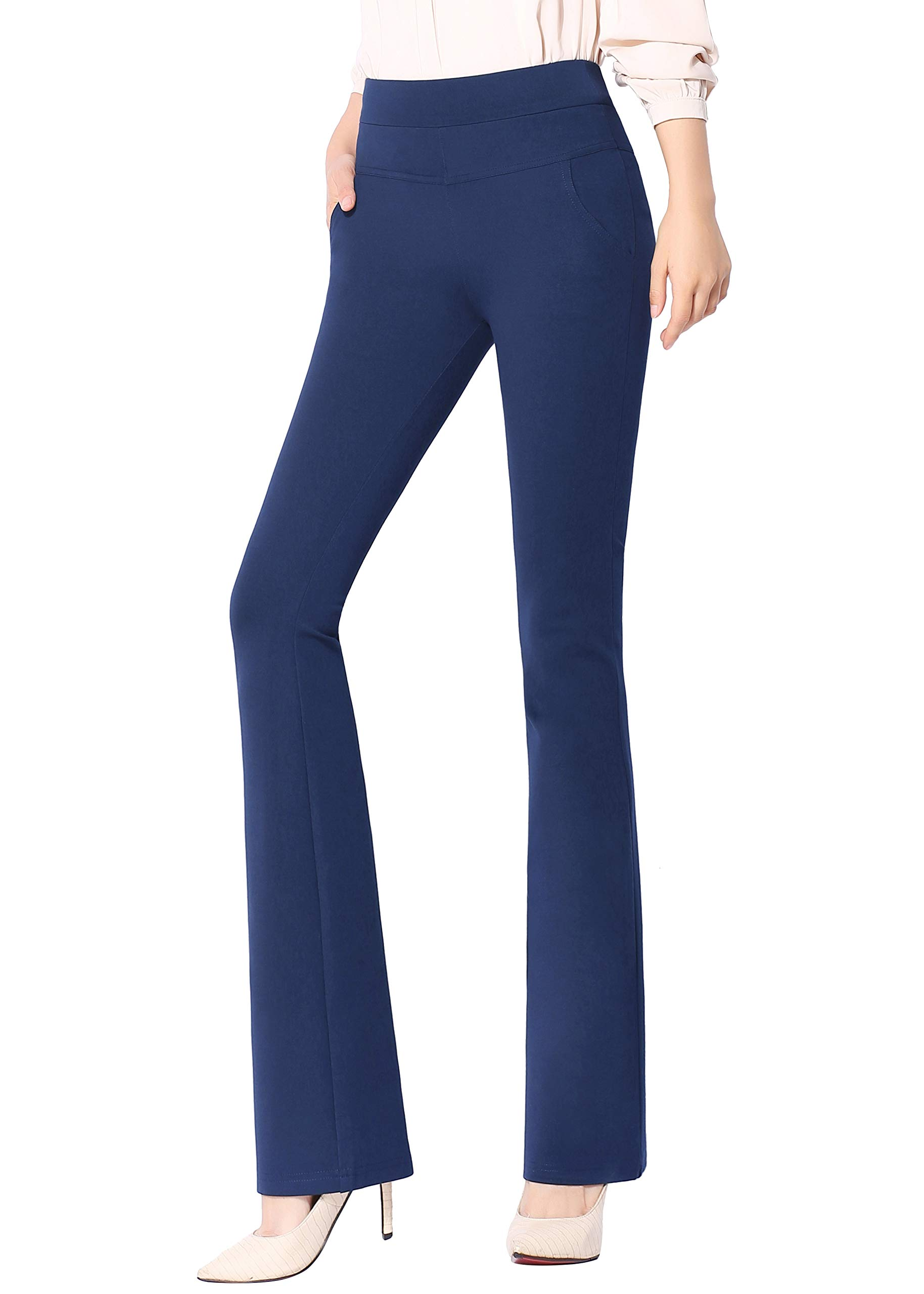 Smibra Womens Ease in to Comfort Pull On Stretch Career Ankle Pants with Pockets
