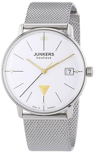 Junkers Bauhaus - Reloj de cuarzo, correa de acero inoxidable color plateado: Amazon.es: Relojes