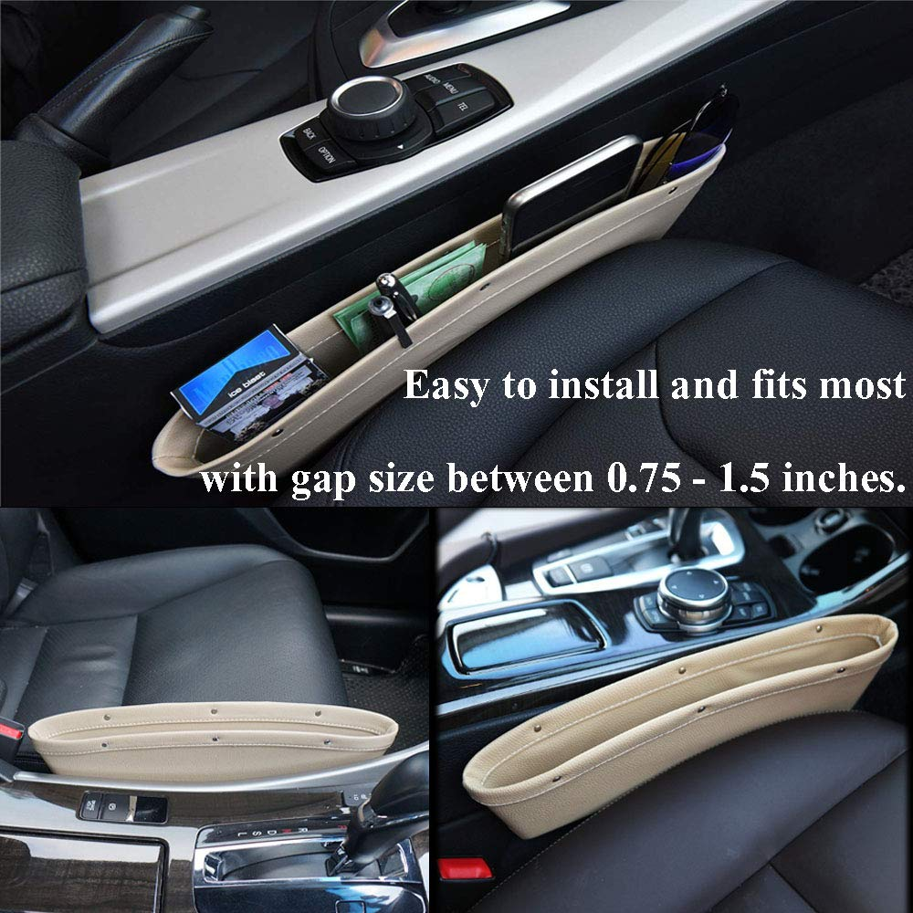 Big Ant 2PCS Car Seat Gap Filler Car Pocket Organizer Seat Console Gap Filler Side-Premium Quality PU Leather Car Gap Filler and Organizer in Between Front Seat and Console-Black