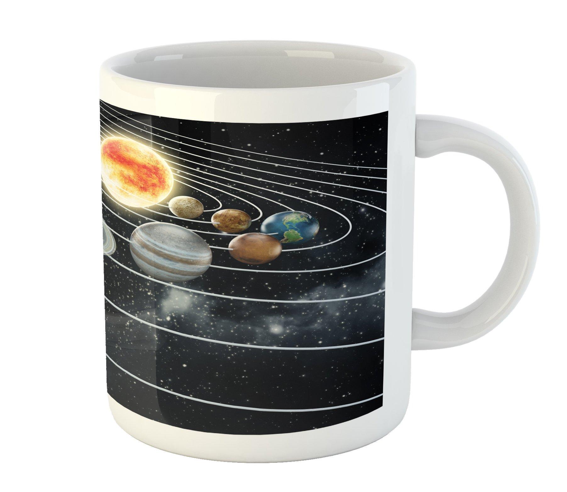 Ambesonne Galaxy Mug, Solar System All Eight Planets and The Sun Pluto Jupiter Mars Venus Science Fiction, Printed Ceramic Coffee Mug Water Tea Drinks Cup, Black Grey