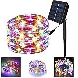 200 LED أضواء لخيط الطاقة الشمسية، ضوء خيط مقاوم للماء، مصباح إضاءة سلكي نحاسي لتزيين الحديقة فناء الفناء في الأماكن المغلقة أو في الهواء الطلق، حفل عيد ميلاد عيد الميلاد (متعدد الألوان)