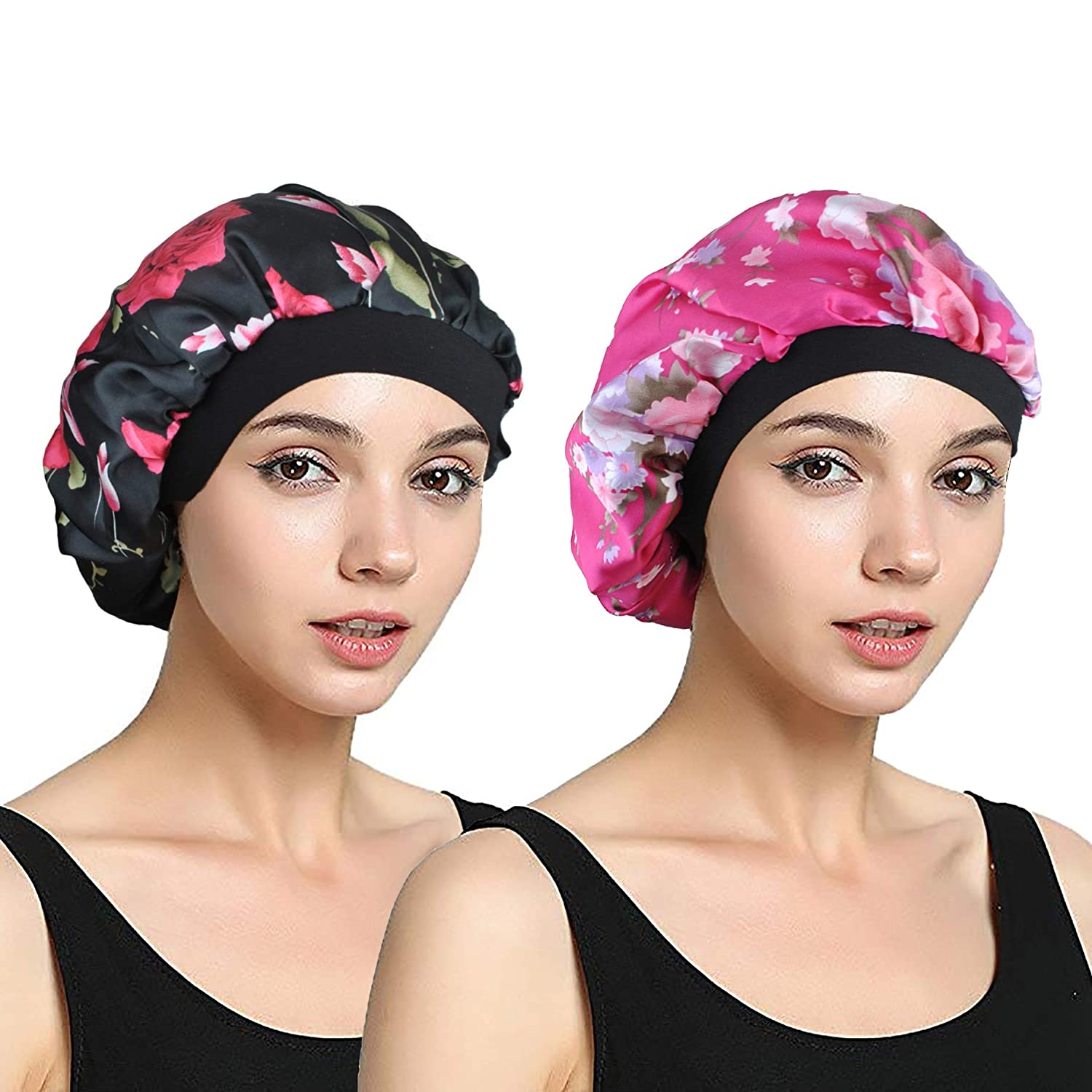 EINSKEY Sleep Cap for Women Satin Night Cap for Hair Protection - 2 Pack