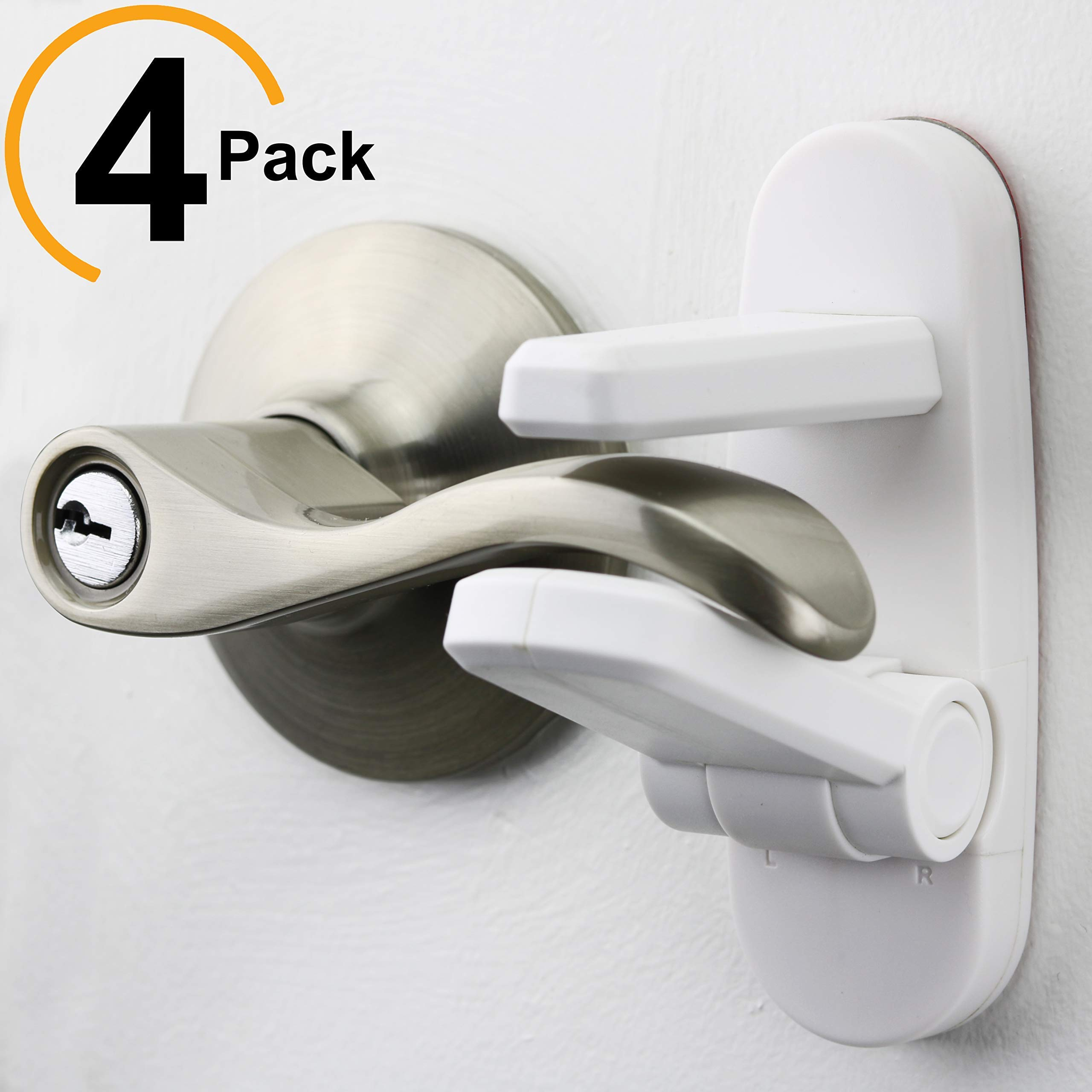 Improved Childproof Door Lever Lock 4-Pack Prevents Toddlers From Opening Doors. Easy One Hand Operation for Adults. Durable ABS with 3M Adhesive Backing. Simple Install, No Tools Needed (White, 4) by Wappa Baby