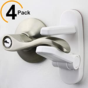 Improved Childproof Door Lever Lock 4-Pack Prevents Toddlers From Opening Doors. Easy One Hand Operation for Adults. Durable ABS with 3M Adhesive Backing. Simple Install, No Tools Needed (White, 4)