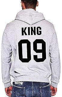 Charmley Homme KingQueen Lettre Imprimé Hoodies pour Amoureux Sweats  Capuche Couple Pull b7e7d3f78d1c