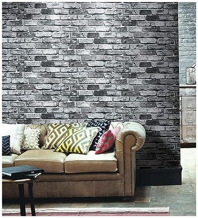 Haokhome 69092 Faux Brick Wallpaper Pvc Vintage Black Grey Brick