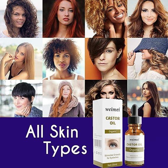 Orgánica Aceite de ricino, Crecimiento de pestañas y cejas, reparación de puntas abiertas, disminución de líneas de expresión, Nutritivo Piel y Reparador ...