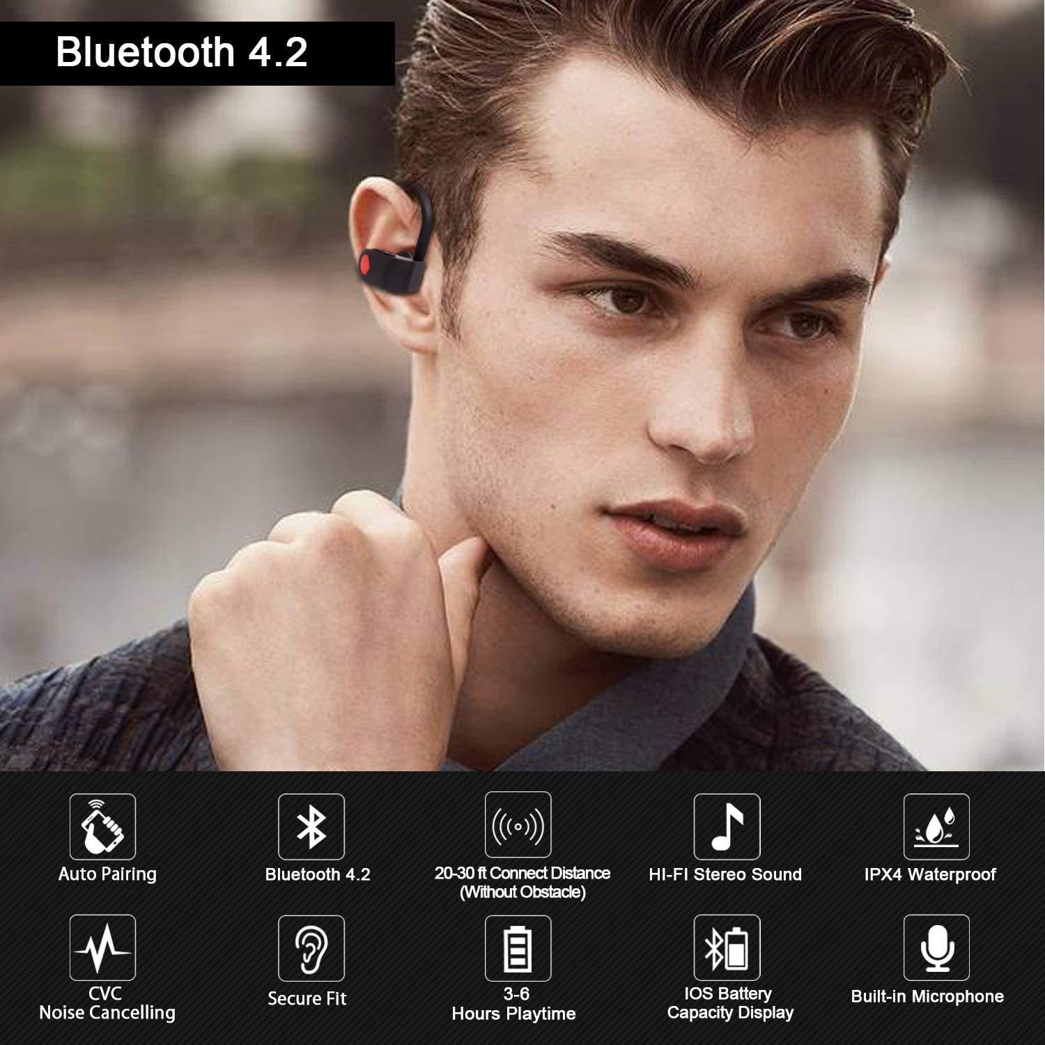 Bluetooth Headphones True Wireless Stereo Sport Earbuds, Bluetooth 5.0TWS in Ear Earphones with Mic, 3-6H Playtime IPX4 Sweatproof Noise Cancelling Headset for Running Workout