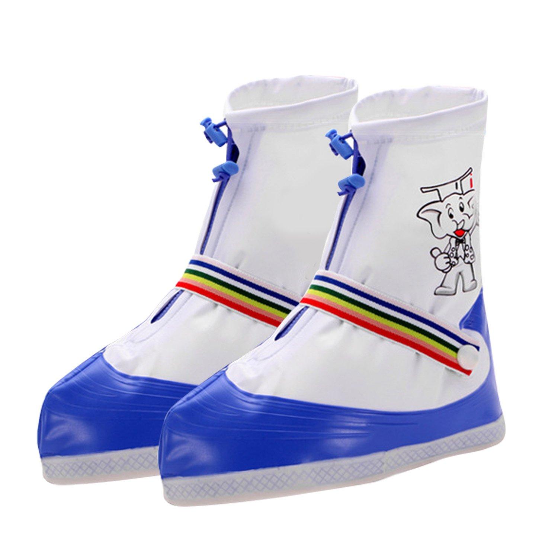 1 paire enfants réglable imperméable à l'eau non glissante Zipper chaussure de pluie couvre-bottes de neige surchaussures pour enfants enfant enfants taille L bleu