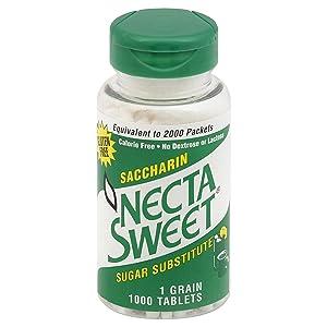 Necta Sweet Saccharin Tablets, 1 Grain, 1000 Tablet Bottle (Pack of 6)