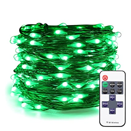 online retailer 6ffee 5f624 ER CHEN Green LED String Lights Plug In, 66ft 200 LED Waterproof Christmas  Fairy Lights Dimmable with RF Remote, Indoor/Outdoor Copper Wire Decorative  ...
