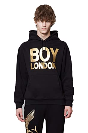 4f6e9bcb91b1 Amazon.com  BOY LONDON BOYLONDON Brushed Hoodie - Black-Gold Black ...