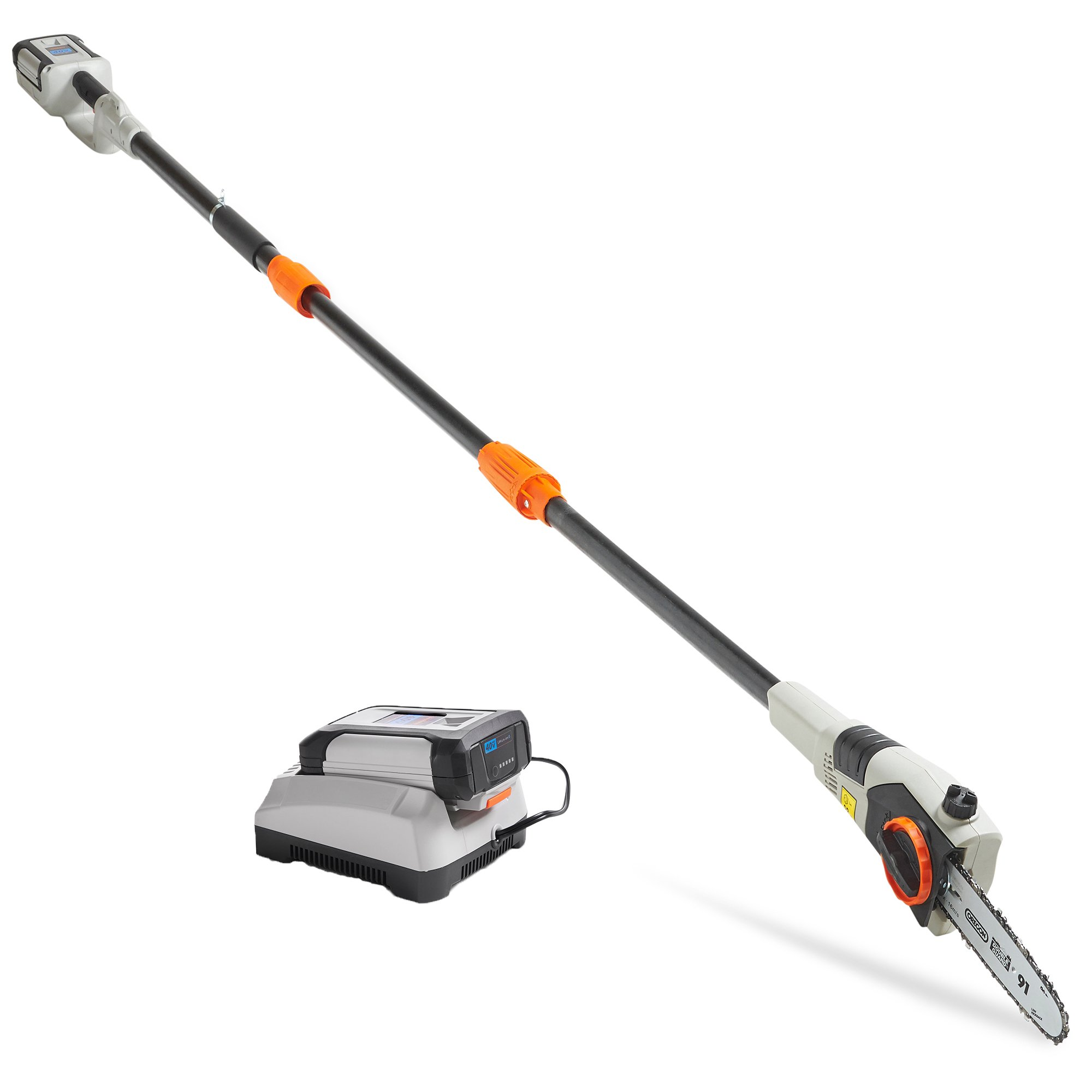 VonHaus 40V Max Cordless 8'' Pole Chainsaw with 10ft Telescopic Pole Includes Lithium-ion Battery, Charger, Shoulder Strap and Blade Cover
