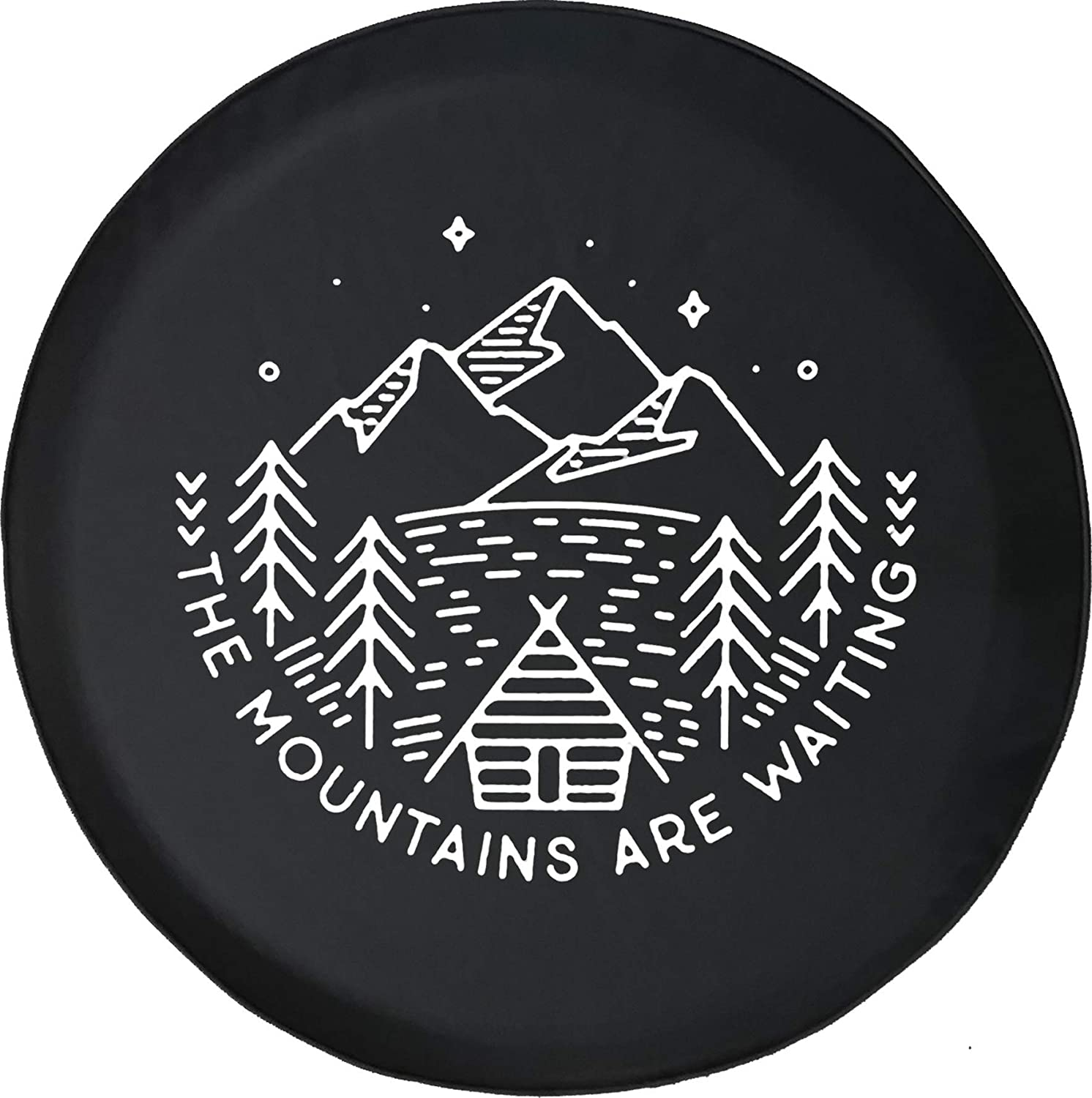 556 Gear The Mountains are Waiting Cabin Pine Trees Lake Jeep RV Spare Tire Cover Black 28 in