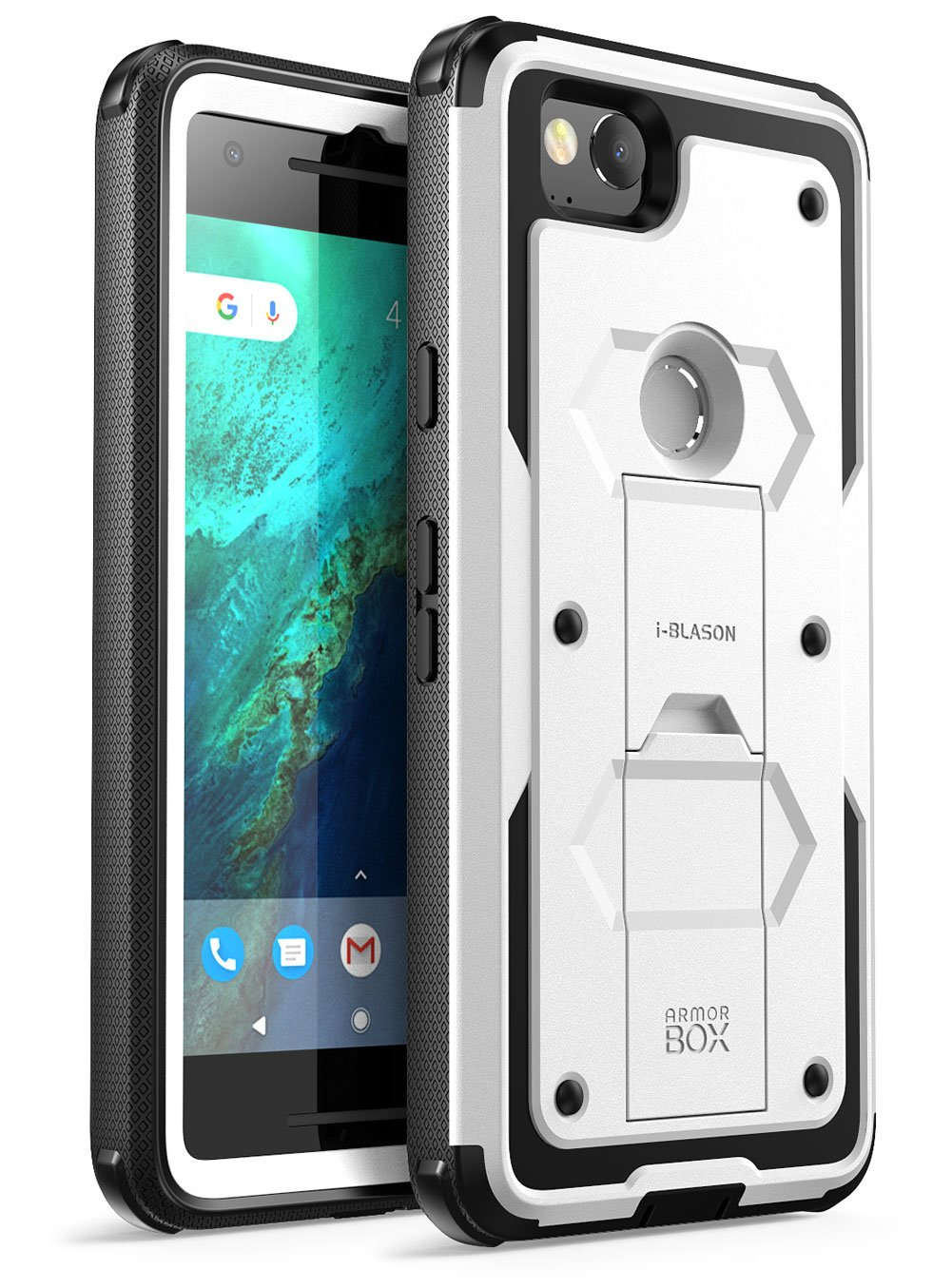 Google Pixel 2 Case, [Armorbox] i-Blason Built in [Screen Protector] [Full Body] [Heavy Duty Protection ] [Kickstand] Shock Reduction/Bumper Case for Google Pixel 2 2017 Release (White)