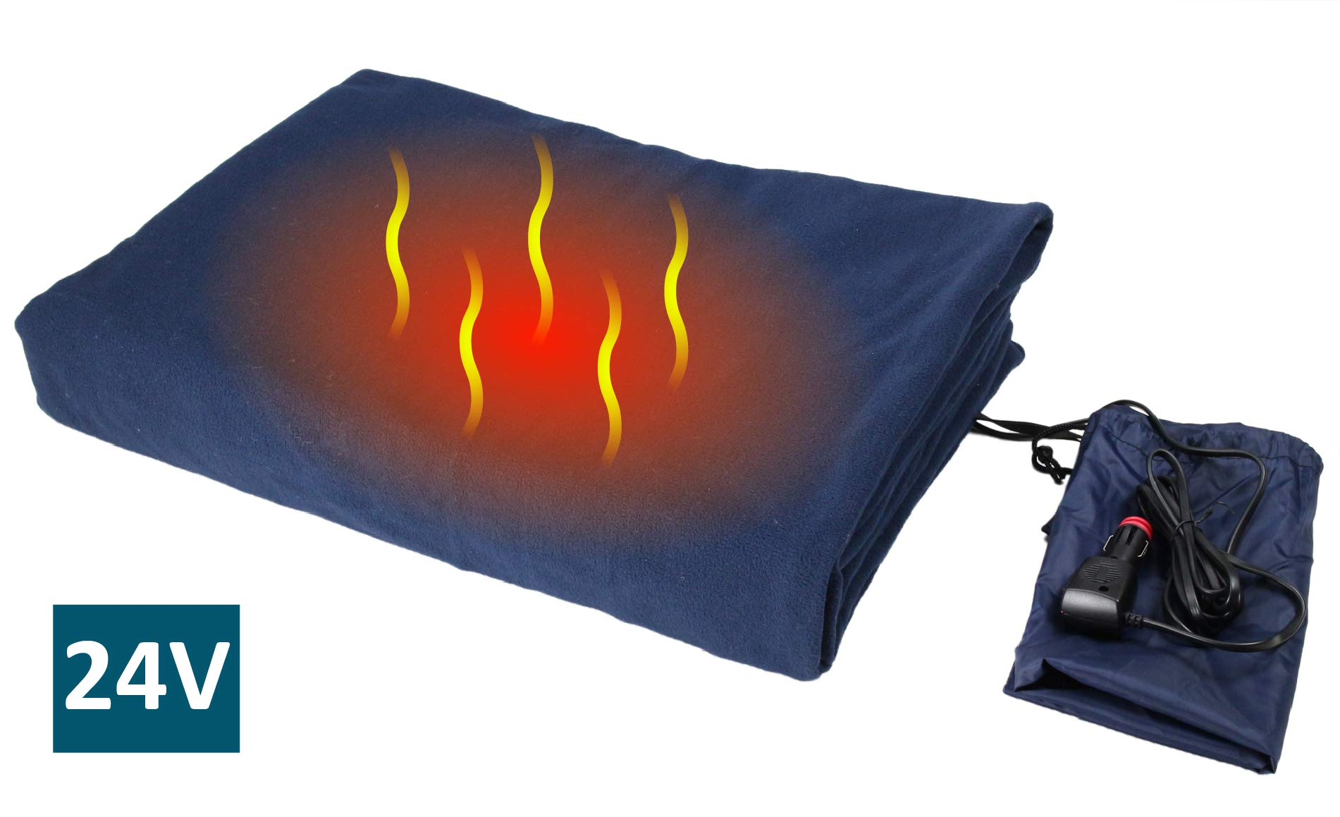 ObboMed SH-4214 Deluxe Electric 24V 60W Luxurious Comfy Polar Fleece Heated Travel Blanket, Winter AC Accessory Essential, with Premium Cigarette Lighter Plug for Truck, Van, Boat, Size 61'' x 41.3''