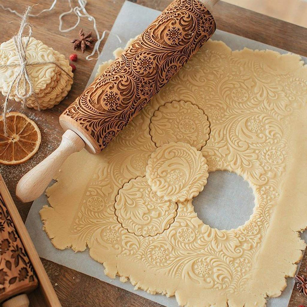 Embossed Rolling Pin Wood Solid Bearing Patterned Rolling Pins Dough Roller for Baking Pastry Fondant Cookie (38cm)