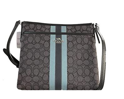 4c5b518e917 Coach Signature Jacquard Strip Zip File Crossbody Bag (Black Multi ...