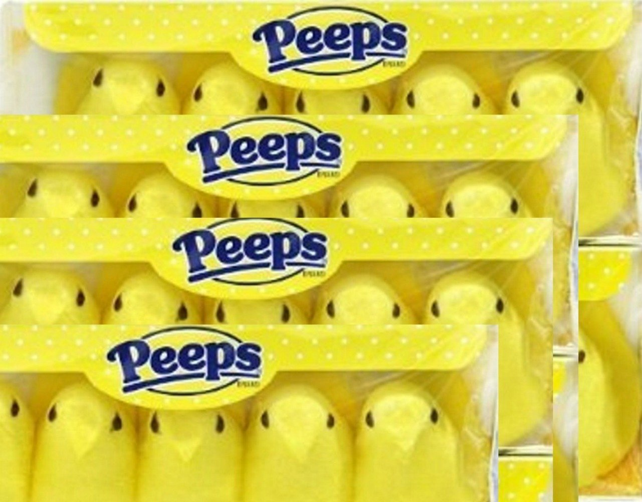 Marshmallow Peeps Yellow Chicks -10 Ct Tray - (Pack of 4)