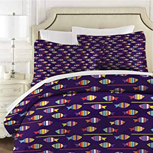 Fish Full Size Sheet Set-3 Piece Set,Comforter Set Bed Comforter Bedding Set Rainbow Patterned Animals Easy Care Bedding Cover Soft Breathable