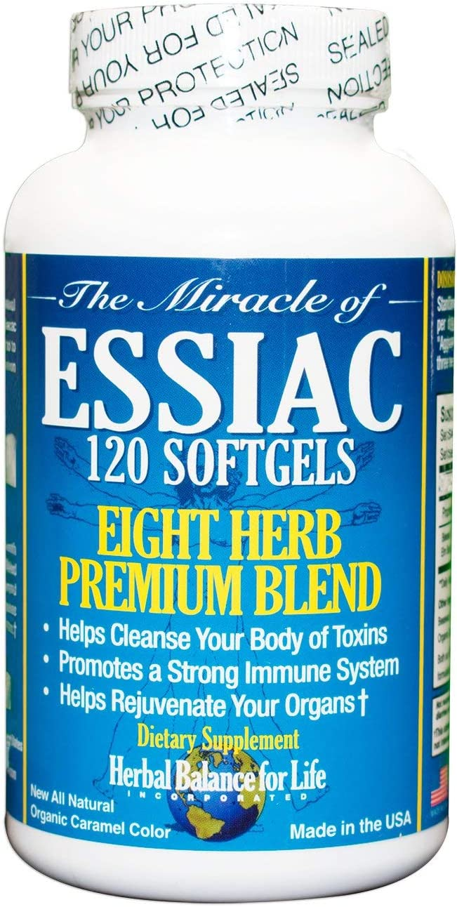 Essiac Tea Softgels, 796 mg, 120 Soft Gels, Eight Herb Essiac, All Natural, Organic Caramel Color, No Brewing or Refrigeration, Great for Travel, 30 Day Supply