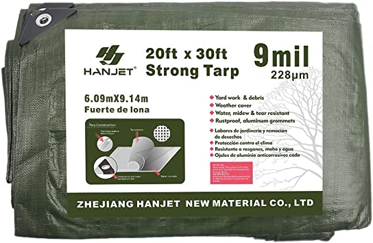 Hanjet Outdoor Tarp Heavy Duty 16 x 20 Feet 9 Mil Multi-Purpose Waterproof Reinforced Durable Rip-Stop with Grommets Brown /& Sliver