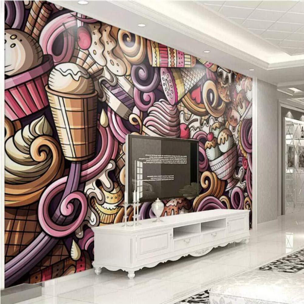 256 cm W H 350x HYDQT mural papel pintado Pintado a mano de dibujos animados infantiles helado bebida fr/ía restaurante Autoadhesivo PVC Cuarto de los ni/ños mural Dibujos animados chico ni