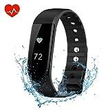 OMorc Tracker d'activité Podomètre Bracelet Connecté Sport Cardiofréquencemètre Smart Band Bluetooth 4.0 avec Contrôle de la Musique, Alarme, Step, Calories, Sommeil pour iPhone Android Smart Phone