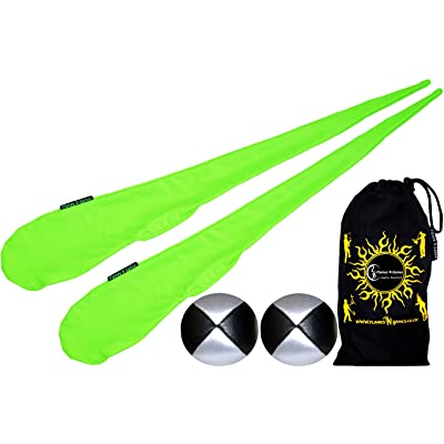 Flames N Games Sock Poi Set (GREEN) Pair of Quality Stretchy Lycra Spinning Poi Socks + 2x90g Balls & Travel Bag.: Toys & Games