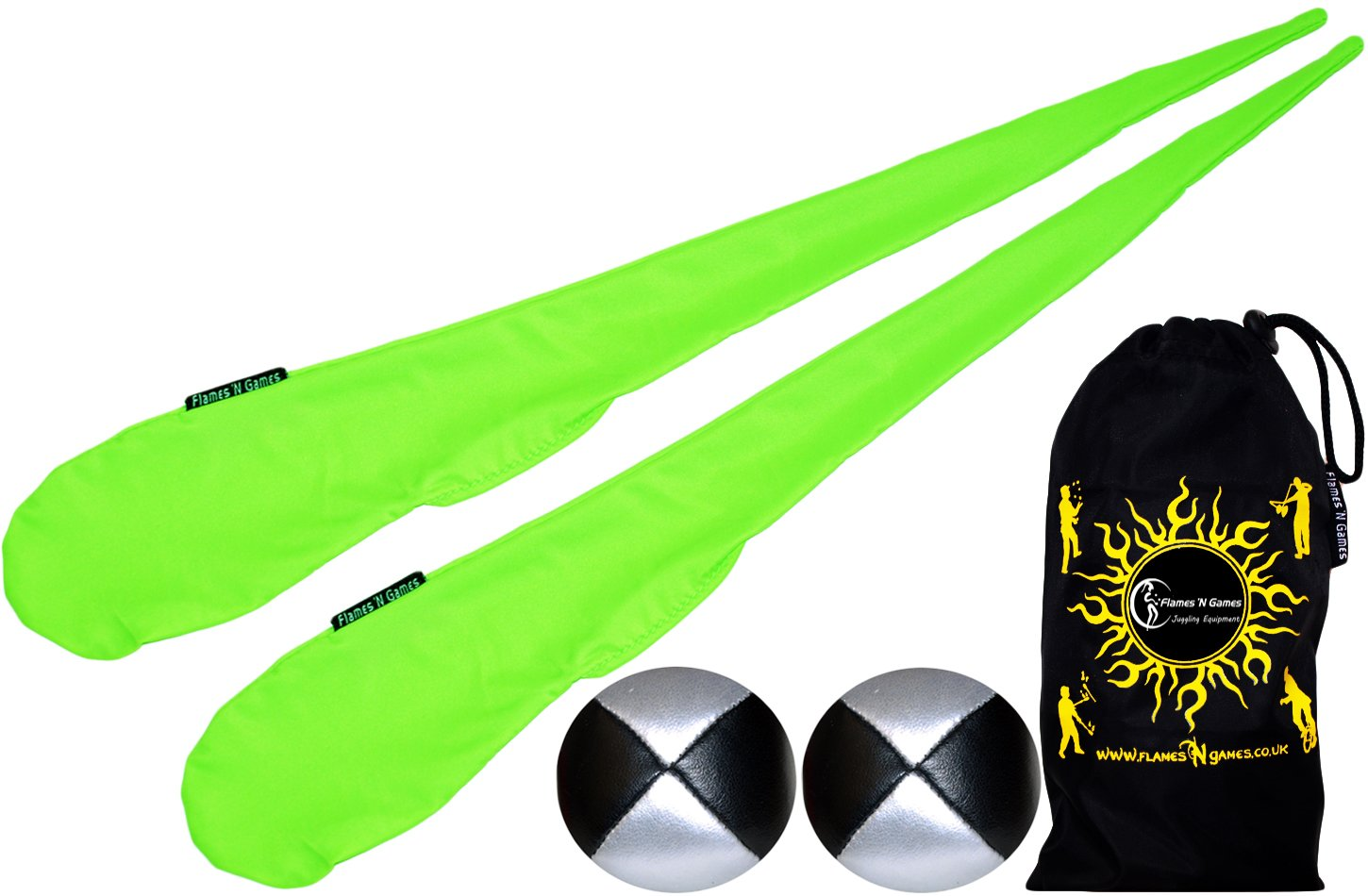 Flames N Games Sock Poi Set GREEN Pair of Quality Stretchy Lycra Spinning Poi Socks 2x90g Balls Travel Bag.