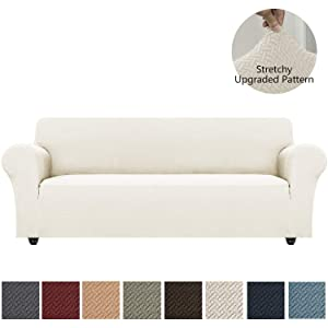 Obytex Stretch Sofa Cover Oversized Polyester and Spandex Upgrade Pattern Couch Covers Dog Cat Pet Slipcovers Furniture Protectors,Machine Washable (Cream, XL Sofa)