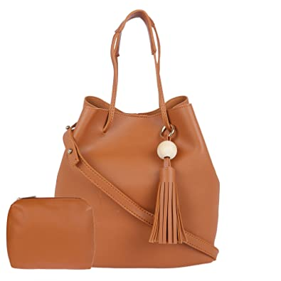 e017362b0ac Image Unavailable. Image not available for. Colour  Fur Jaden Women s Tan  Bucket Tote Sling Bag ...