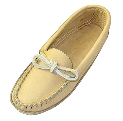 Bastien Industries Womens Moose Hide Leather Moccasins (5) Tan