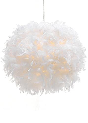 Waneway White Feather Ceiling Pendant Light Shade, Non-Electrical Lampshade for Floor Lamp and Table Lamp with Shade Reducing Ring for Living Room, Dining Room, and Bedroom, 11.8 inches