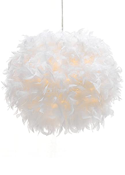 Waneway white feather ceiling pendant light shade non electrical waneway white feather ceiling pendant light shade non electrical lampshade for floor lamp and aloadofball Gallery