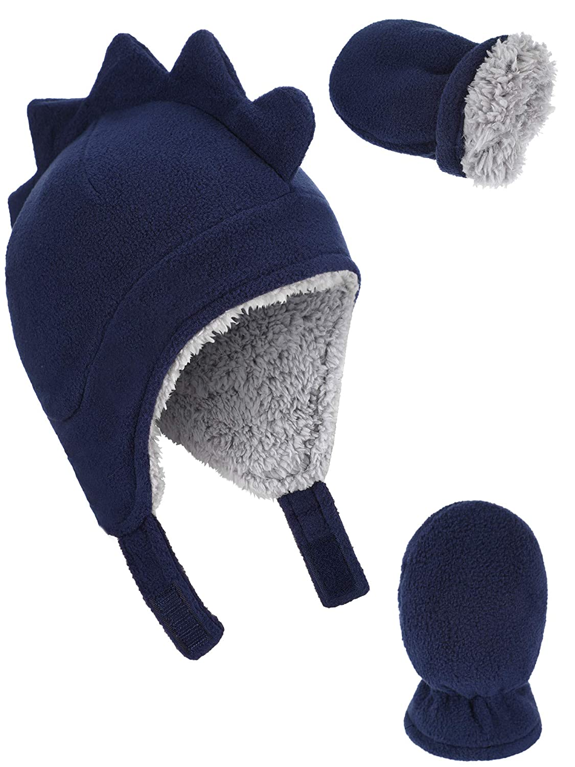 Boao 3 Pieces Totally Baby Winter Set Micro Fleece Hat Baby Knit Hat Warm Mitten Gloves