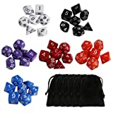 Ritche Dungeons And Dragons Dragon Dices Set, 42 Piece Of Dice Set with 6 black bags, Polyhedral Dice Dice