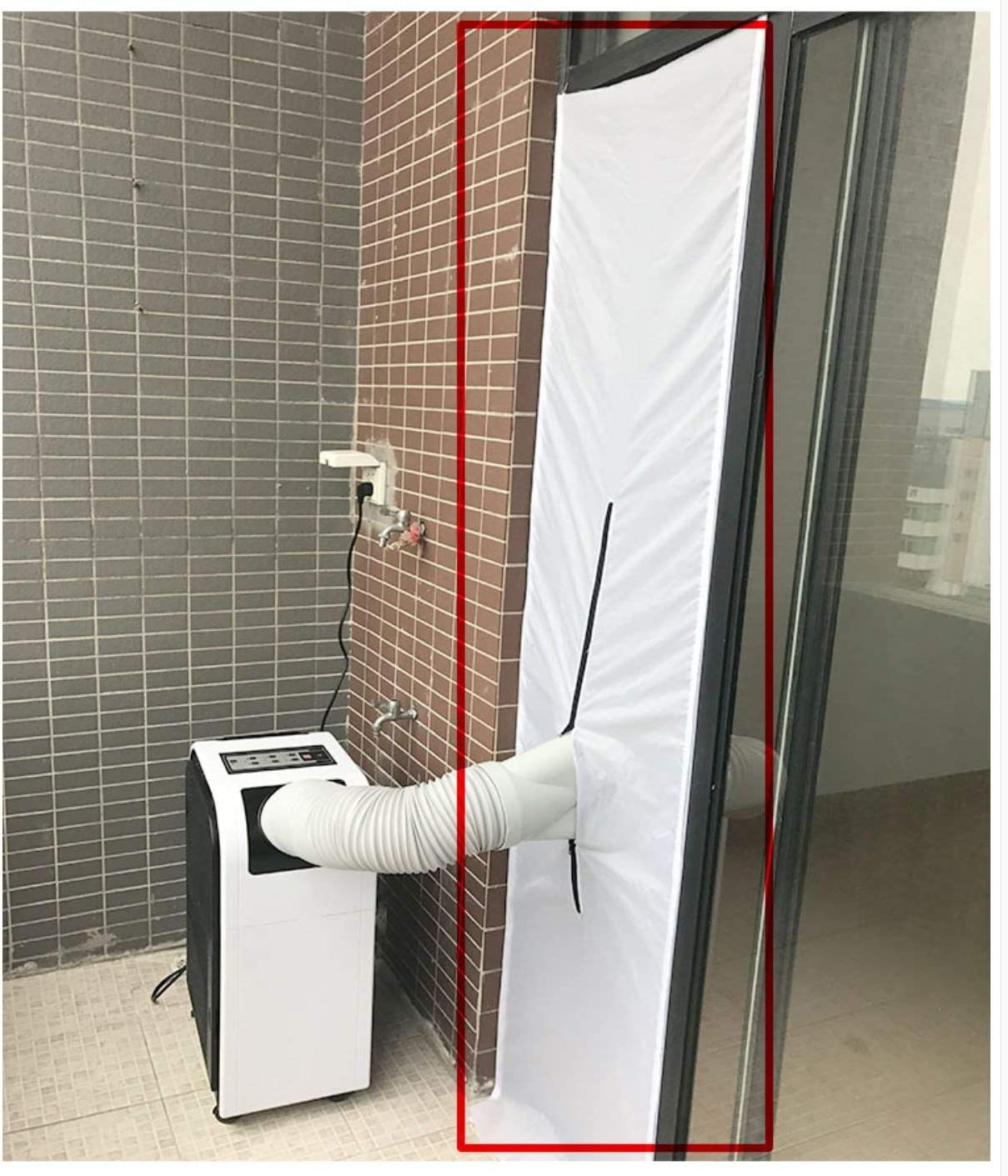 JIANZHENKEJI 200 x 50 cm Zipper Screen Door Seal for Portable Air Conditioner and Tumble Dryer   Works with Every Mobile Air Conditioning Use It On A Left and Right Sliding Door