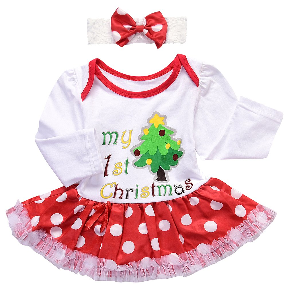 66ebdddbe766 Amazon.com  Baby Girls 1st Christmas Santa Costume Outfits Xmas Newborn  Infant Romper Tutu Dress 3PCs 4PCs Headband Leg Warmers Shoes Set  Clothing