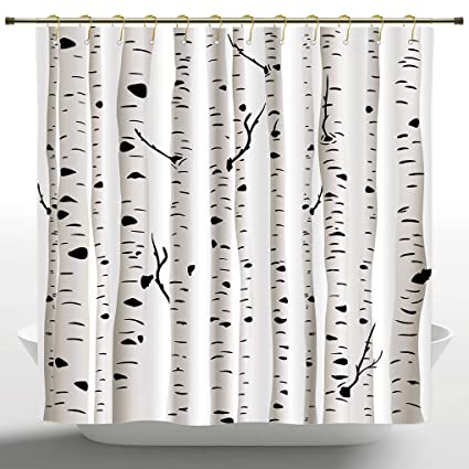 IPrint Personalized Shower Curtain By Birch TreeForest Seasonal Nature Woodland Leafless Branches Grove