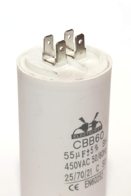 Electrofit Motor Capacitor 450V AC 55 uF CBB60