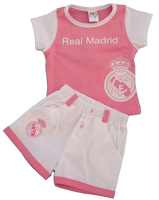 Conjunto para Niñas Real Madrid Camiseta/Pantalón Rosa Blanco (6 Meses)