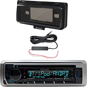 Kenwood Single DIN in-Dash Marine Bluetooth Stereo USB AUX CD Player Receiver Bundle Combo with Enrock Marine Dash Kit Protector Radio Cover, Enrock 12 Volt Amp Booster Kit