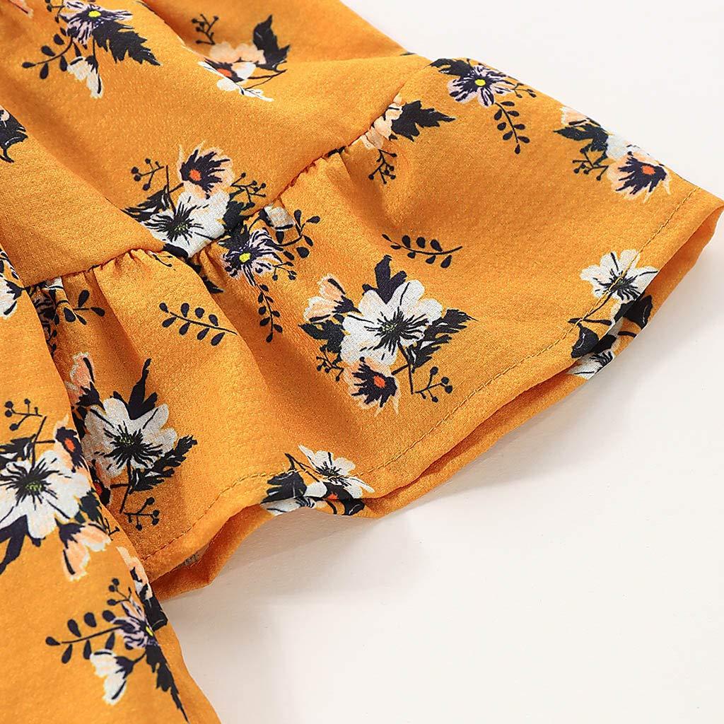 Hstore Toddler Baby Childrens Sling Strapless Floral Ruffle Skirt Dress Princess Skirt Yellow