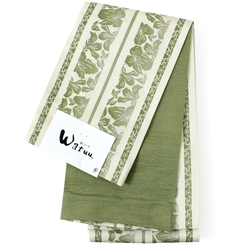 きもの京小町 帯 レディース 単品 和つう 半幅帯 浴衣 リバーシブル 長尺 B07D37CLH1  グリーン地花柄
